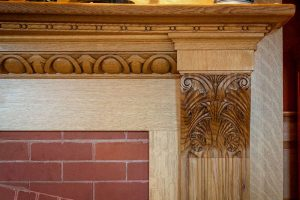 Fireplace Mantel (detail), White Oak (carving only)