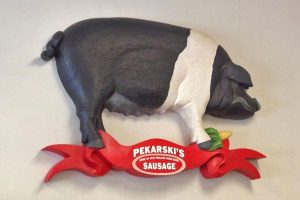 Pekarski's Sausage Company Sign, Painted Basswood